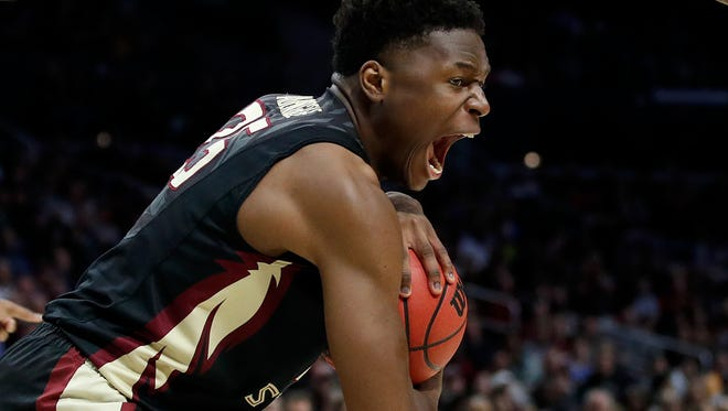 Florida State forward Mfiondu Kabengele grabs a rebound during the second half of the team's NCAA men's college basketball tournament regional semifinal against Gonzaga on Thursday, March 22, 2018, in Los Angeles.