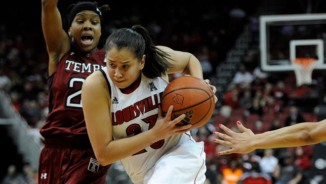 Louisville Cardinals guard Shoni Schimmel dribbles against Temple Owls guard Tyonna Williams during the second half at KFC YUM! Center.