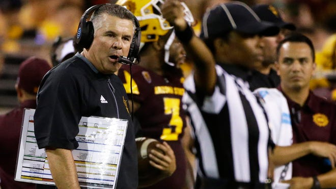 Arizona State head coach Todd Graham reacts during their 30-20 loss to San Diego State at Sun Devil Stadium on Saturday, Sep. 9, 2017 in Tempe, Ariz.