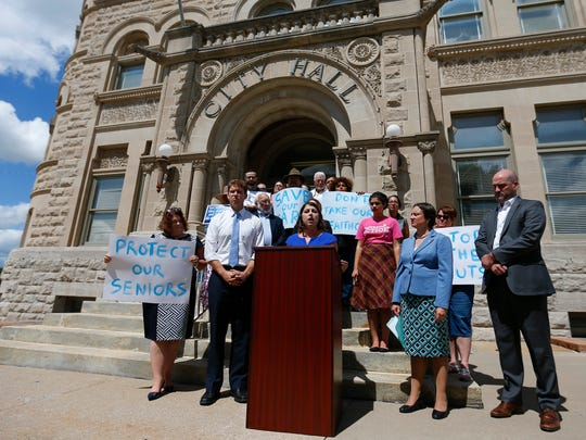 Crystal Quade, D-Springfield, speaks at a press conference meant to keep the conservation on health care on Tuesday, Aug. 29, 2017, the day before President Donald Trump visits Springfield.