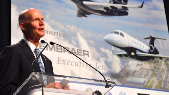 Gov. Rick Scott at Embraer in Melbourne.