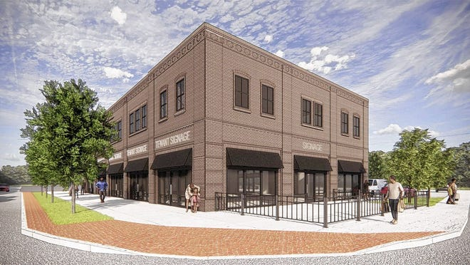This rendering of Wirt's Grove is at the corner of College and Main streets. The two-story building will have more than 12,000 square feet with five storefronts on the first floor. The building is expected to open by early summer.