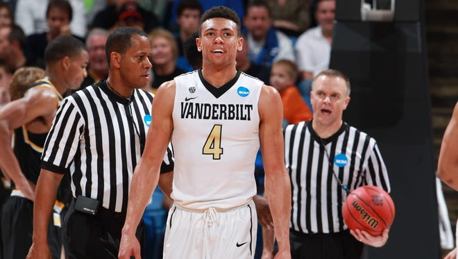 Vanderbilt's Wade Baldwin (4) reacts against Wichita State during the NCAA Tournament First Four at Dayton Arena on March 15, 2016.
