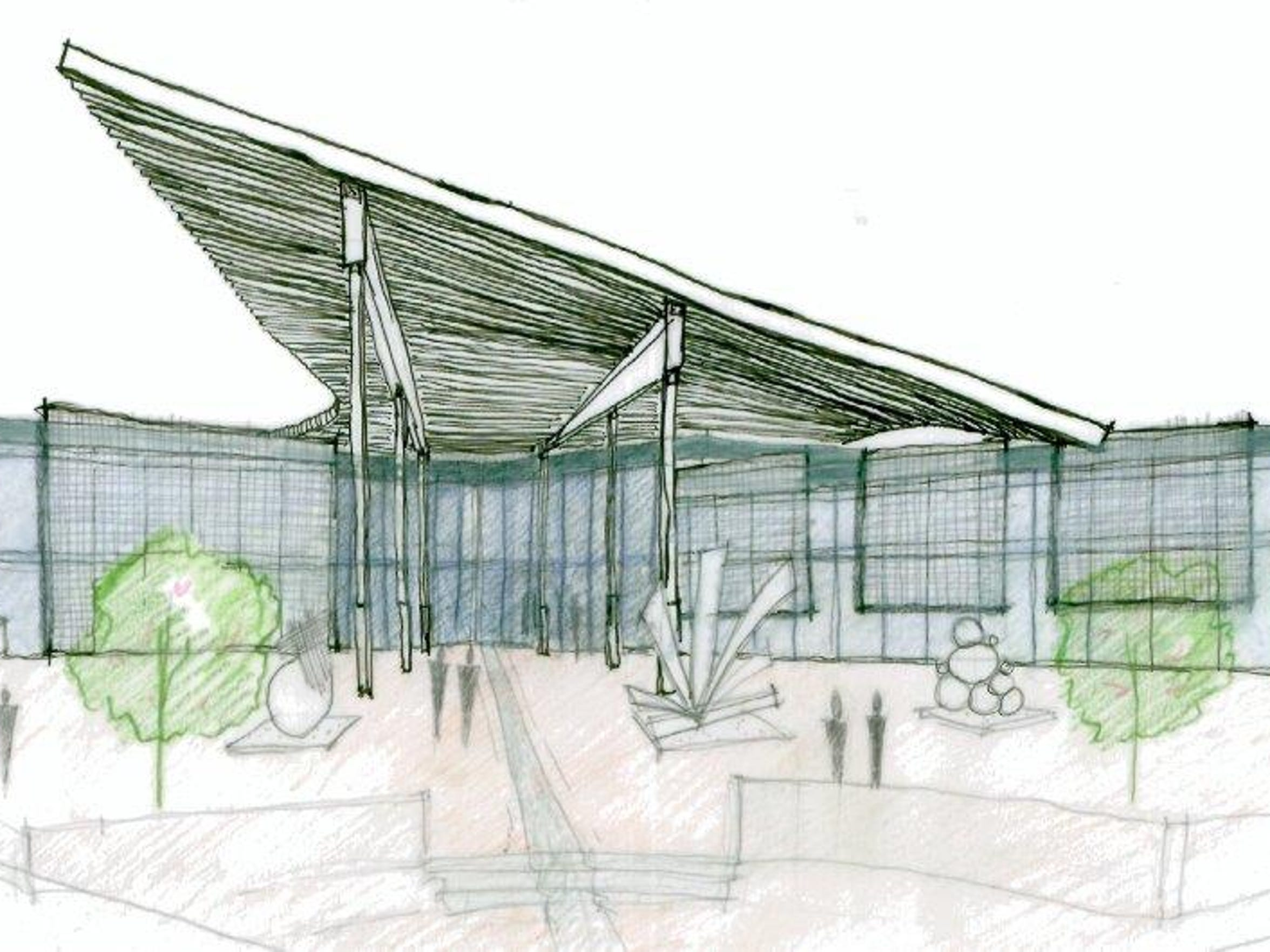 A sketch of a possible LeMoyne Center for the Visual Arts building near Cascades Park. LeMoyne wants $2 million to move its operations to the Meridian Point site just north of the Capital City Amphitheater.