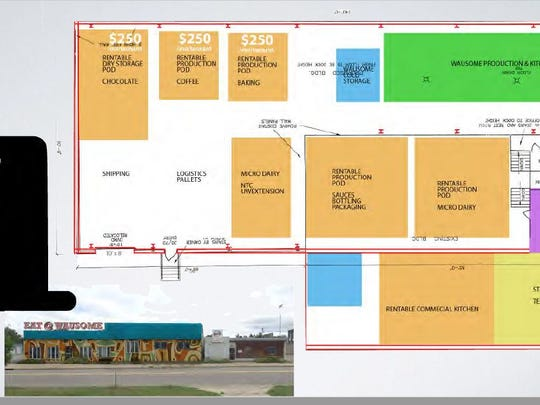 """Wausome Foods floor plan shows a space for the Wausome Wafer production, a coffee roaster, a co-packaging """"pod,"""" a micro dairy, a rent-able commercial kitchen and a cheese cave."""