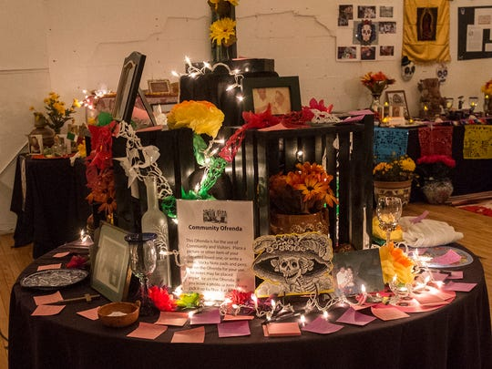 """One of the community ofrendas, or offerings at last year's """"Dearly Departed"""" exhibit. This year's Dia de los Muertos event sponsored by MALEC will be held at the Lansing City Market on Saturday and Sunday."""