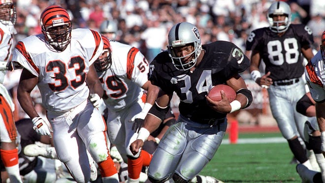 Bo Jackson's football career ended - and baseball career was threatened - when he suffered a hip injury in a 1991 playoff game.