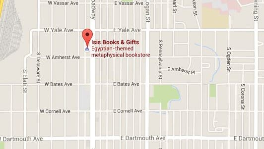 Where ISIS Bookstore is located in the southern Denver area.