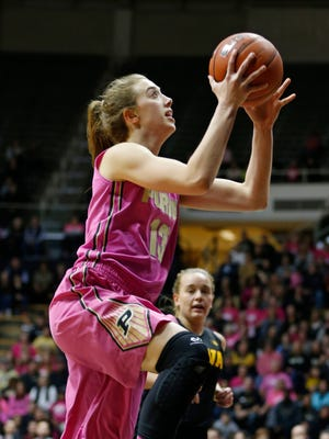 Bridget Perry drives for a score against Iowa this past Sunday.