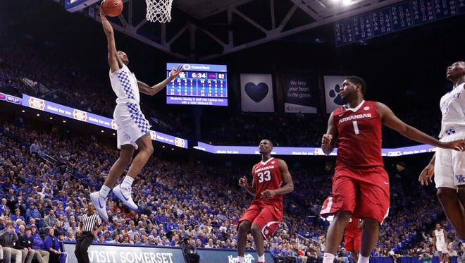 Kentucky Wildcats guard Malik Monk (5) goes up for a dunk against the Arkansas Razorbacks in the second half at Rupp Arena on Jan. 7.