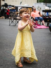 Harper Roberts, 2, dances to the music during the Simply Texas Blues Festival Saturday, May 19, 2018, in downtown San Angelo.