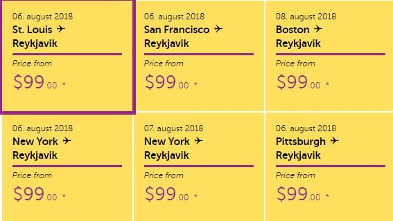 WOW Air's website teases $99 one-way fares to Iceland on Monday, July 23, 2018.