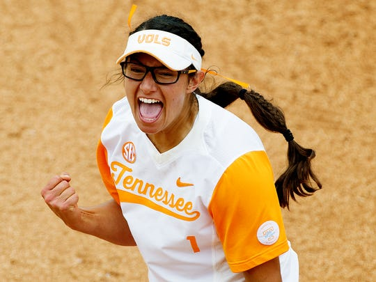 Tennessee's Matty Moss celebrates after an out during an NCAA Regional  against Longwood on Sunday, May 21, 2017.