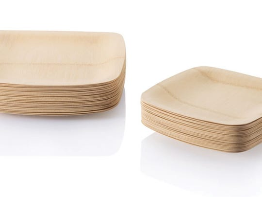 The bamboo veneerware plates are biodegradable and compostable. They come in square and round shapes in packages of 8 large or small plates.