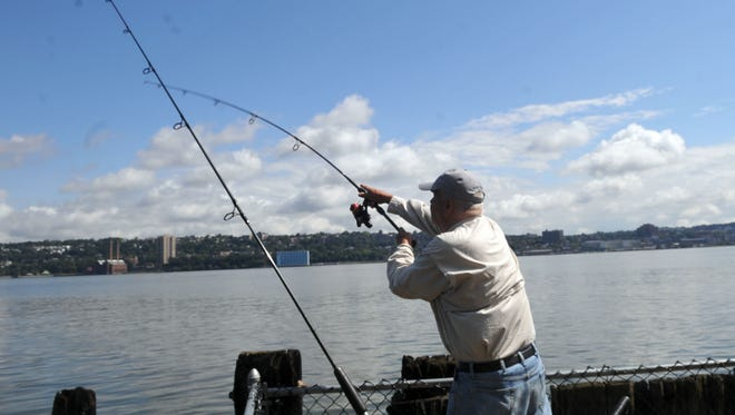 Fishing for striped bass.