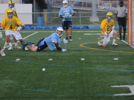Cape Henlopen's Jeb Monigle watches the ball roll away after his shot was saved by Caesar Rodney.