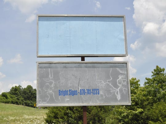 A billboard in Summit that had a sign depicting Muhammad on Wednesday was blank Thursday.