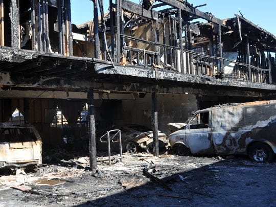 On Saturday afternoon, a fast-moving, three-alarm blaze consumed nine vehicles and two residential units at 1337 Garner Avenue in Salinas. No one was injured.