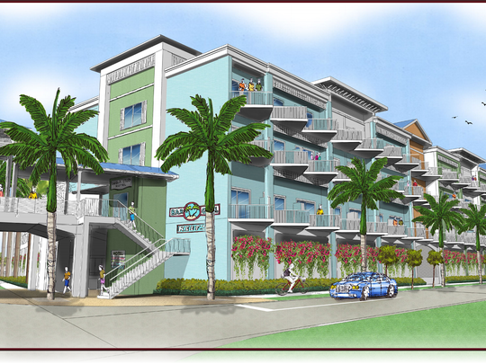 After some false starts, TPI Hospitality filed its first application Thursday for a resort spanning 10 high visibility acres in downtown Fort Myers Beach. Shown, a conceptual view of the resort from the point of view of someone standing at the intersection of Estero Boulevard and Crescent Street. A public walkway over Estero connects the beachside and bayside resort properties.