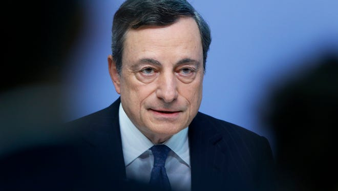 In this Thursday, July 21, 2016, file photo, European Central Bank President Mario Draghi speaks during a news conference in Frankfurt, Germany.  (AP Photo/Michael Probst, File)