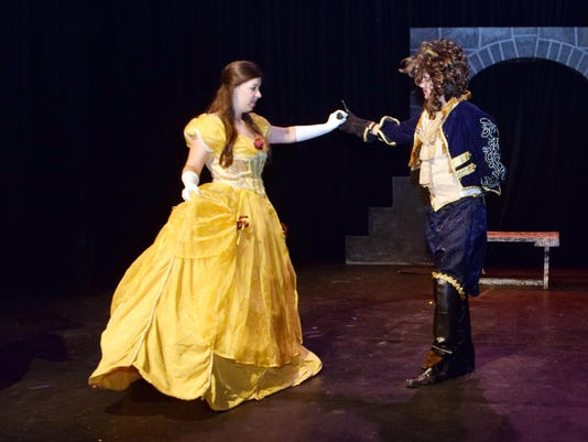 """ANI Beauty and the Beast Jr. Sarah Catherine LaBorde (left) portrays Belle and William Carroll portrays the Beast in Disney's """"Beauty and the Beast Jr."""" presented by LBM Productions, Richard Brasher, Jr., DDS and Alexandria Pediatric Dentistry at the Richa"""