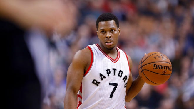 Jan 24, 2017; Toronto, Ontario, CAN; Toronto Raptors guard Kyle Lowry (7) moves the ball against the San Antonio Spurs in the first half at Air Canada Centre. The Spurs won 108-106. Mandatory Credit: Kevin Sousa-USA TODAY Sports ORG XMIT: USATSI-324704 ORIG FILE ID:  20170124_ads_si3_287.JPG