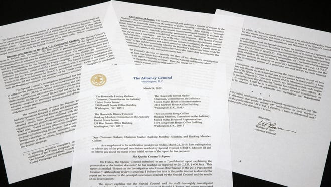 A copy of a letter from Attorney General William Barr advising Congress of the principal conclusions reached by Special Counsel Robert Mueller, is shown Sunday, March 24, 2019 in Washington.