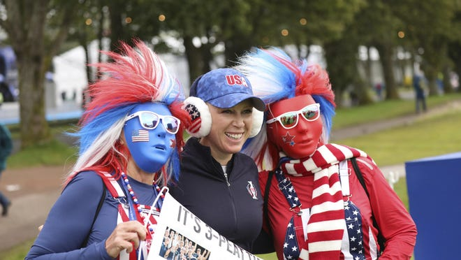 Boca Raton's Morgan Pressel, shown with some U.S. fans during a practice round for the Solheim Cup in Scotland last September, will be competing in this weekend's Gainbridge LPGA tournament.