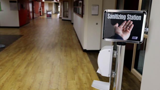 One of a number of sanitizing stations throughout Southeastern Community College is shown Tuesday on the West Burlington campus. SCC will resume in-person classes Aug. 19 when students return to its West Burlington and Keokuk campuses for the fall semester.