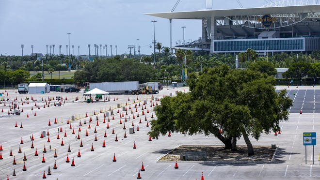 The Covid-19 test center at Hard Rock Stadium in Miami, pictured here on Friday, is closed due Hurricane Isaias. Hurricane Isaias' imminent arrival has forced the closure of some outdoor coronavirus testing sites in Florida, even as the state continues to tally record daily deaths.