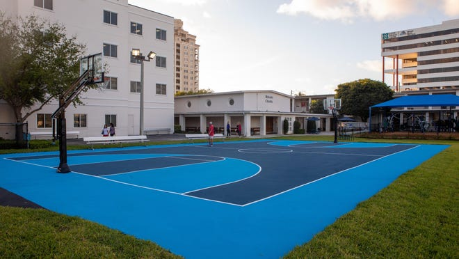 New basketball court at Rosarian Academy's renovated Jake Rubin field in March 13.