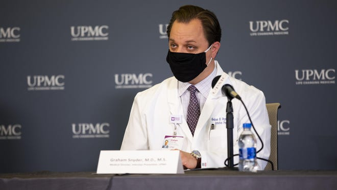 Dr. Graham Snyder, medical director of infection prevention and hospital epidemiology at UPMC, at a recent press conference.