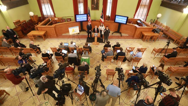 Ohio Gov. Mike DeWine at a coronavirus news conference March 13 at the Ohio Statehouse.