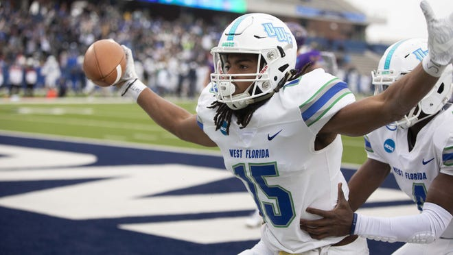 West Florida wide receiver Kevin Grant celebrates after catching a touchdown pass during the Division II championship NCAA college football game against Minnesota State on Saturday, Dec. 21, 2019, in McKinney, Texas.