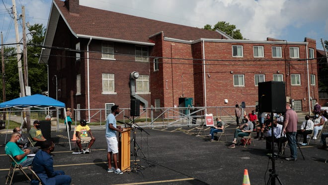 Geno Tucker, founder of Remember Us Urban Scouts, speaks about the neighborhood's recent spike in violence and key initatives for reducing violence during a press conference with members of the Concerned Linden Clergy Group on Friday, July 17, 2020 at Good Shepherd Baptist Church in Columbus, Ohio.