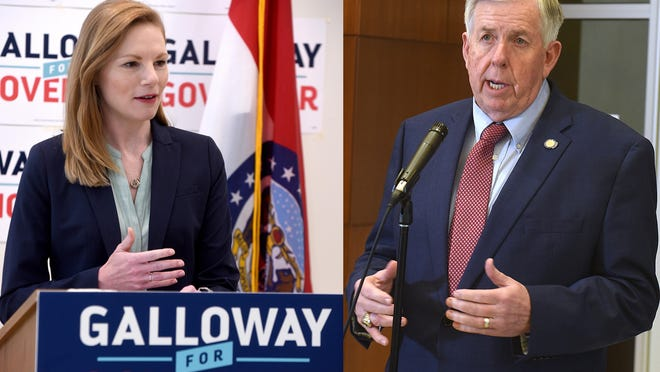 State Auditor Nicole Galloway, left, and Gov. Mike Parson, right, are split on how to handle the COVID-19 pandemic. Galloway, Parson's Democratic opponent for governer in November, has largely focused on criticism of his handling of the virus outbreak.