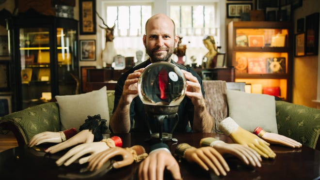 """Brandon Hodge's """"Planchette House"""" will again be on the Austin Weird Homes Tour. Hodge, owner of Monkey See, Monkey Do and Big Top Candy Shop on South Congress, is an aficionado of planchettes (the devices used to navigate Ouija boards and other mystical objects)."""