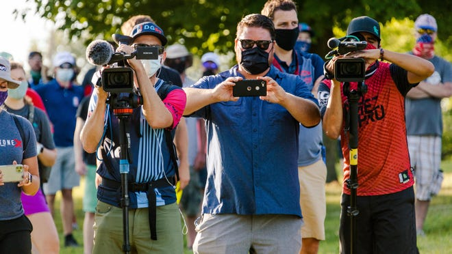 Behind the scenes at the 2020 Ledgestone Open, where the tournament put together a team of photographers, live-stream crews, on-site reporters and public relations staff for the Professional Disc Golf Association event on Sunday, Aug. 16, 2020.