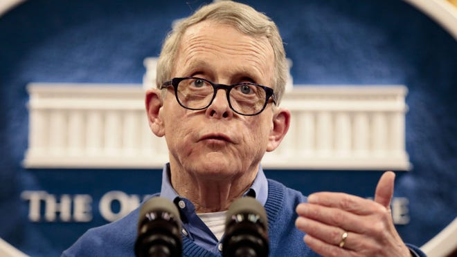 Ohio Gov. Mike DeWine speaks during a press conference regarding the state's testing protocol and preparedness for COVID-19, or Coronavirus, on Saturday, March 7, 2020 at the Ohio Statehouse in Columbus, Ohio.