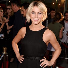 "Actress Julianne Hough arrives at the premiere of Twentieth Century Fox's ""Let's Be Cops"" at the Cinerama Dome on August 7, 2014 in Los Angeles, California."