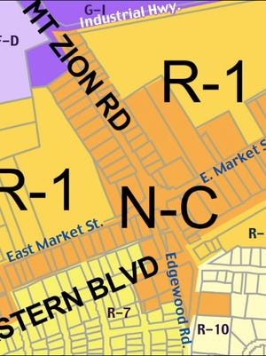 Market Street and Mount Zion corridor section of zoning map from the Springettsbury Township Internet site (Road Names in blue & white Annotated by S. H. Smith)