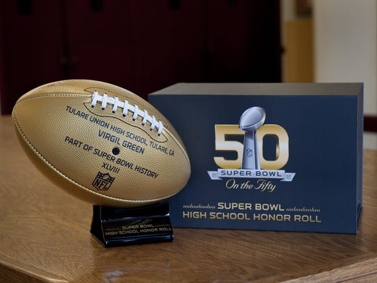 Tulare Union High School received a gold football from