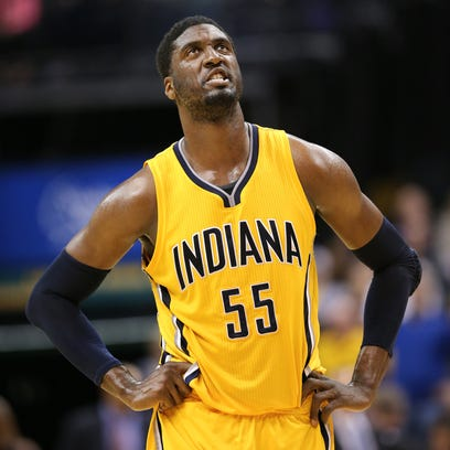 Indiana Pacers center Roy Hibbert fights through the