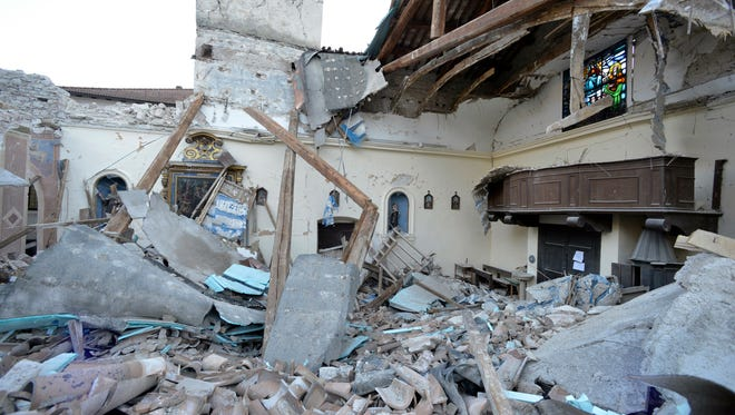 A view of a damaged church in the village of Visso, Italy, Thursday, Oct 27, 2016.