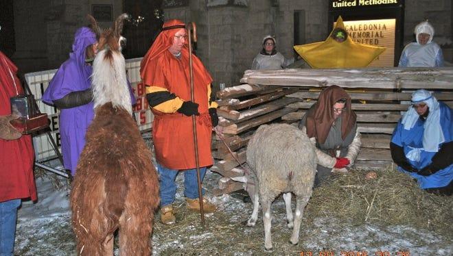 Members of Memorial United Methodist Church, Caledonia, participated in a live nativity Dec. 10-11.