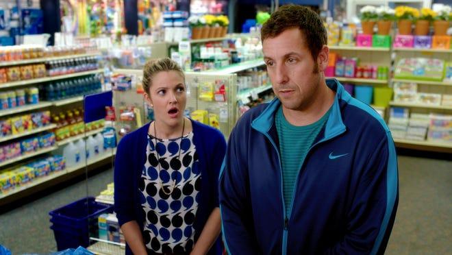 "Drew Barrymore, left, and Adam Sandler in a scene from ""Blended."""