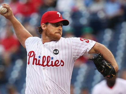 Philadelphia Phillies starting pitcher Chad Billingsley throws in the first inning of a baseball game against the Arizona Diamondbacks, Friday, May 15, 2015, in Philadelphia. (AP Photo/Laurence Kesterson)