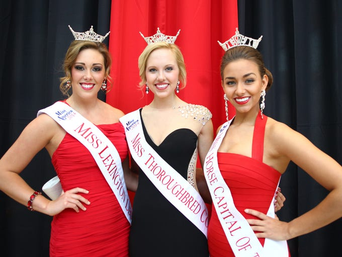Miss Lexington Legends, Emily Horn, left, Miss Thoroughbred Country, Katie Himes, and Miss Horse Capital of the World, Caity Jackson make an entrance at The Julep Ball, benefitting the James Graham Brown Cancer Center at the University of Louisville at the KFC Yum! Center.  Margaret Fenton, Special to the CJ May 2, 2014