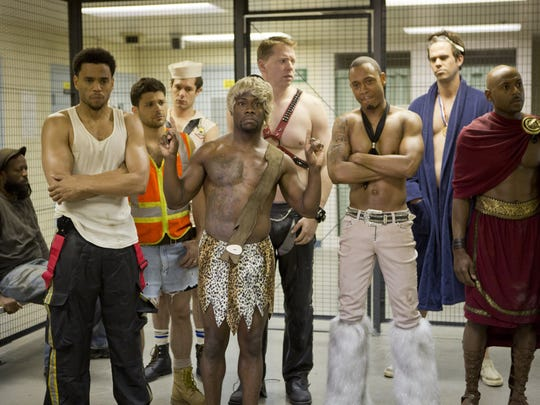 """Thier antics at The Hustler Club land Dominic (Michael Ealy), Jeremy (Jerry Ferrara), Isaac (Adrian Brody), Cedric (Kevin Hart), Bennett (Gary Owen), Michael (Terrence J), Terrell (David Walton) and Zeke (Romany Malco) in trouble in """"Think Like a Man Too."""""""
