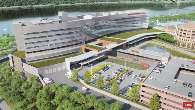 An architect's rendering shows the proposed inpatient pavilion at Vassar Brothers Medical Center in Poughkeepsie.